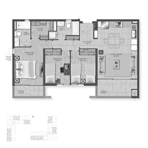 Planta 3D + 2B Cocina Integrada / Plaza La Florida - Socovesa
