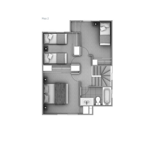 Segundo piso Casa 74 / Los Coihues - Socovesa