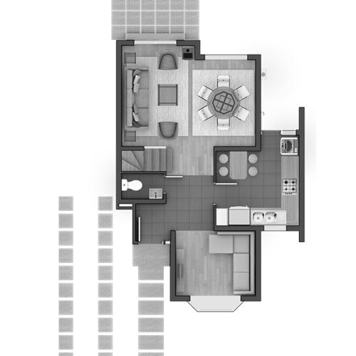 Primer piso Casa 90 / Condominio Alto Maderos - Socovesa