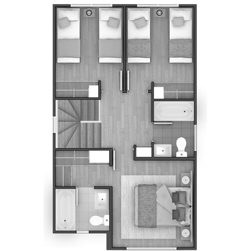 Segundo piso Casa 90 / Condominio Alto Maderos - Socovesa