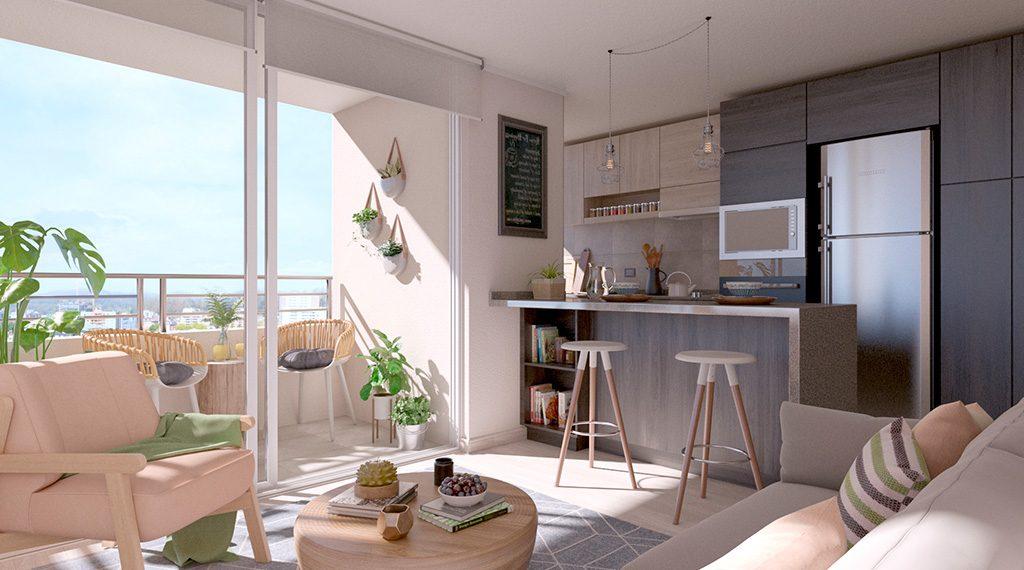 Novo Urbano - Cocina Integrada y terraza