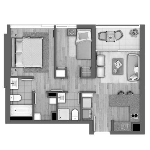 Depto H / Edificio Novo Urbano - Socovesa