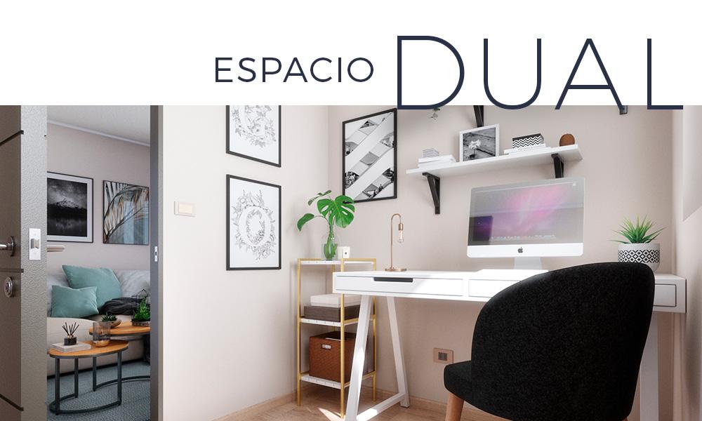 Modelo 116m2 sala de estar con home office integrado de manera independiente